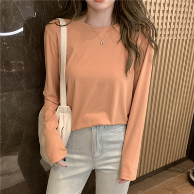basic solid color modal Tee Shirt Top for women autumn 2021 round neck elastic T-shirt