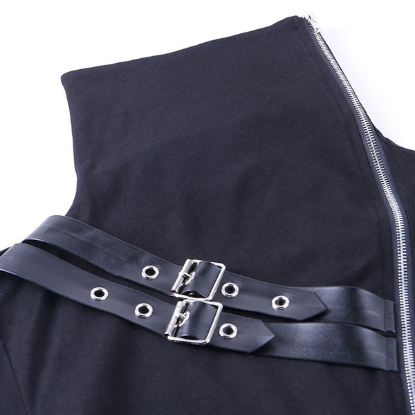 2021 chic street hipster mechanical punk pullover double zipper high collar top