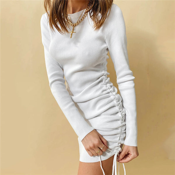Women 2020 draw rope pleated long sleeve round neck ruched mini dress knitwear great shape all cotton dress