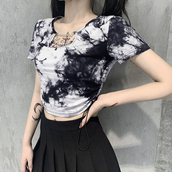 tie-dyed t-shirt female u-neck chain slim crop top short sleeved shirt for femme