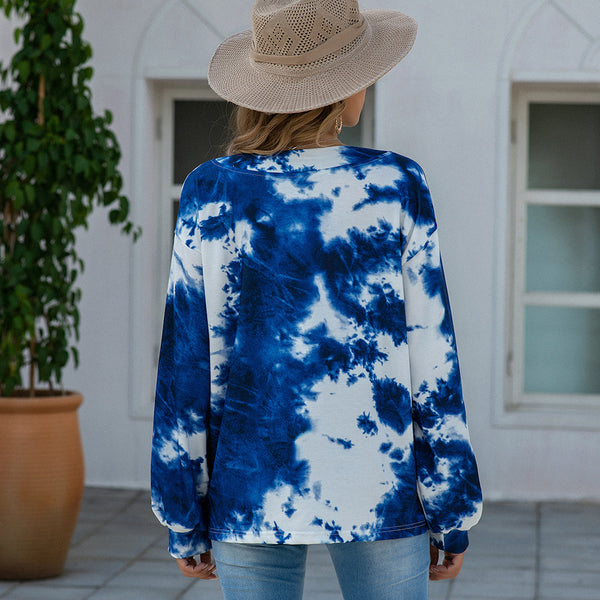 Fashionable Women Autumn Winter Tie Dye Printed Loose Fit V collar Long Sleeve Pullover Sweater Mantel Coat