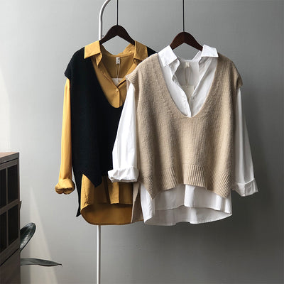 Antiwrinkle knitted vest knitwear forked hem V-neck Korean loose fit woolen sweater long top for women