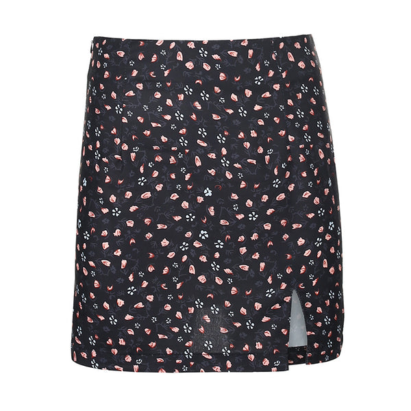 2021 asymmetric floral print short A-line skirt summer high waisted split hem for women
