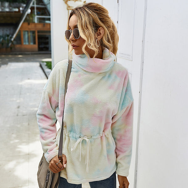 2020 women high collar tie dyed fleece outfit sweater pullover sweatshirt mantel waist casual chic
