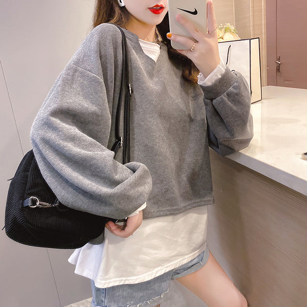 2021 new fake 2 piece pullover loose fit clothes long-sleeved oversize sweater jumper plus size