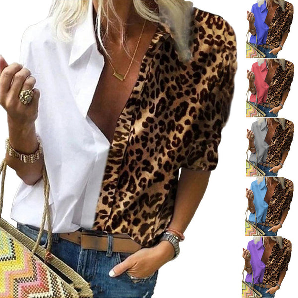 2020 Women Long Sleeve Printed leopard color block loose fit shirt chiffon shirt plus size Urban Leisure blouse