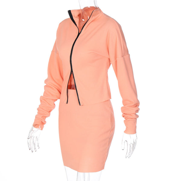 2pc set leisure suit women 2020 autumn new double zipper loose fit top coat mantel pencil skirt