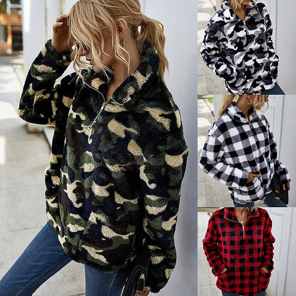 Designers Women 2020 winter new thickened camouflage plaid Fleece placket zipper Jacket Coat