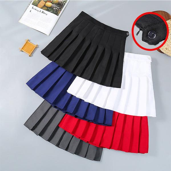 Summer High Waisted Skirt Plus size A-line Korean style with buttonhole Pleated Skirt for Women