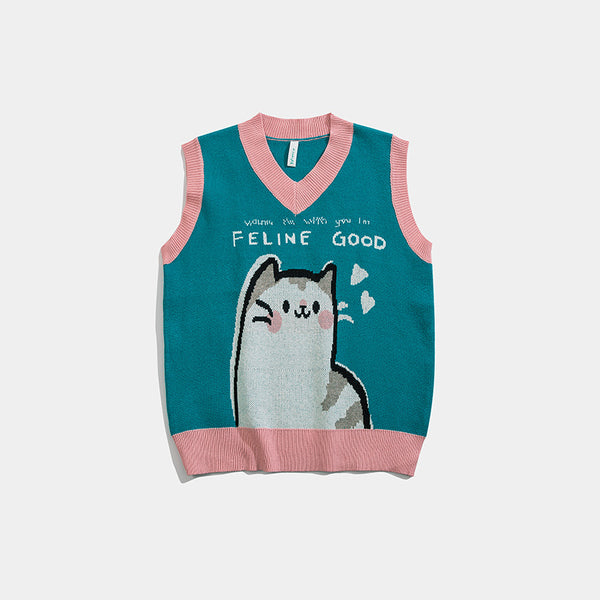 2021 spring knitwear vest V-neck kawaii kitty loose fit sleeveless sweater for boys girls