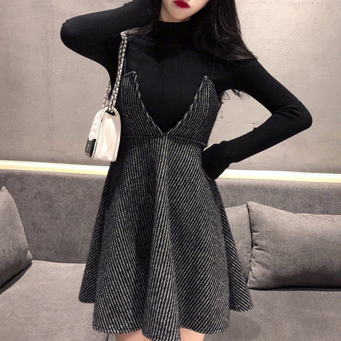 2021 Winter Tunica for Women High Waist Dark Gothic Style Skirt with Sweater two piece set