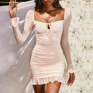 long sleeved mesh pleated minidress women slim fit ruched square neck sexy dress