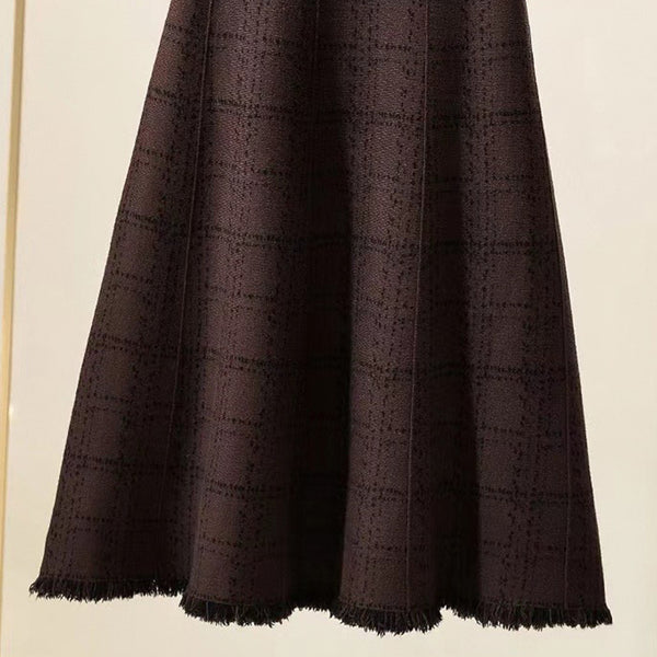 2021 Long Knitted Skirt Woolen Dress Tassels Hem Plaid High Waist Skater Warm Knitwear for Women