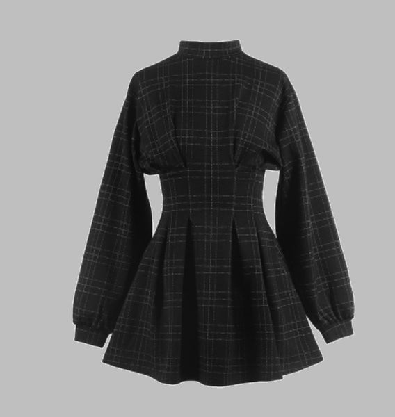 Women Vintage Mini Dress Long Sleeve Plaid A Lined Punk Style Gothic Dresses Retro High Waist