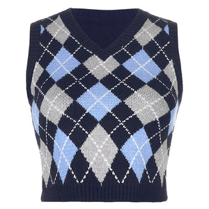 British Style jacquard Plaid V-Neck Sweater Vest Top for Women Argyle Knitwear Pullover