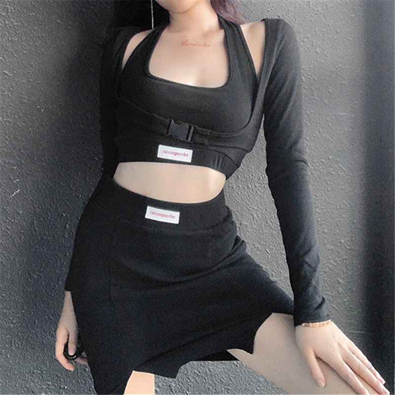 Letter print baggy buckled umbilical cord 3 pc set T-shirt vest Skirt Street Hipster