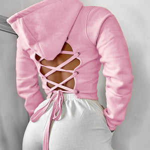 hollowcut back european hoodie drawstring crop top women pullover lace up jacket