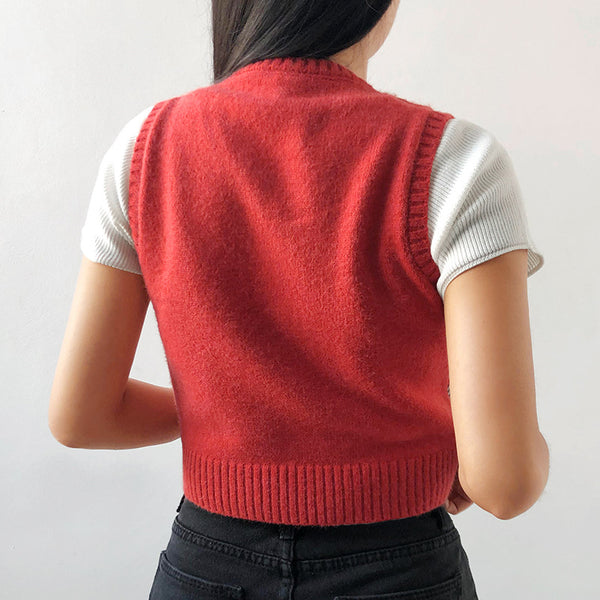 2021 British Style jacquard V-Neck Sweater Argyle Vest Knitwear Crop Top for Women