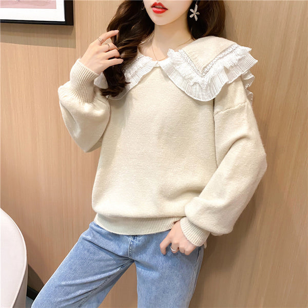 Loose Japanese retro sweater lace Chelsea collar women outfit top 2021 loose fit Pullover