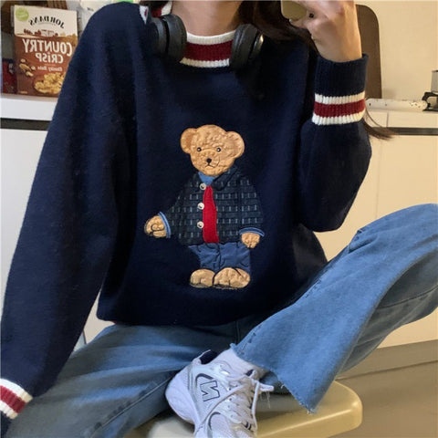 Teddy Bear Striped Pullover Woolen Sweater Vest Kawaii Knitwear Student Style for autumn and winter