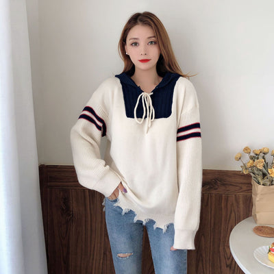 Woolen JK School Uniform hooded hoodie bowtie Stripe Knitted Sweater Tassel Loose Fit Pullover