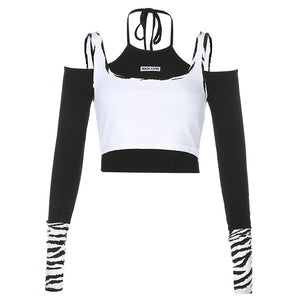 2021 contrast color hanging cami 2in1 fake two pieces crop top zebra print T-shirt European fashion