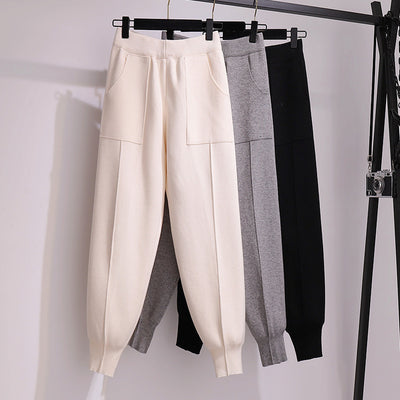 Women warm harem pants Korean style high waist knitted comfort carrot pants