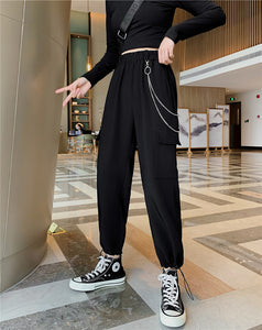 women loose sport high waisted slim fit tube legged versatile pants hipster fashion with chain