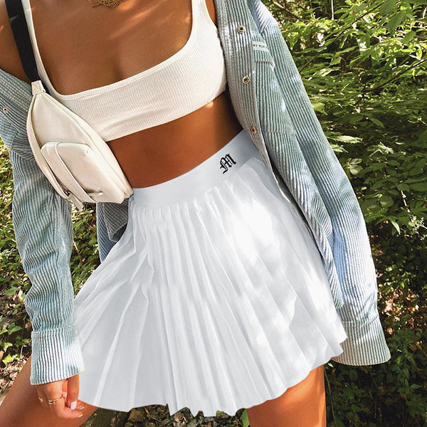 College Style Street Fashion Embroidered letter pleated skirt for Women Sport and Tennis