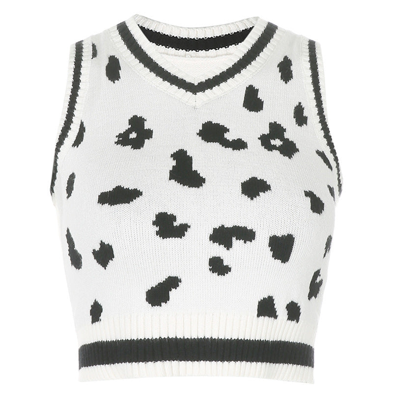 Sexy Wool Cami Crop Top Vest Milk Cow Knitting Outfit Knitwear Sweater 6672