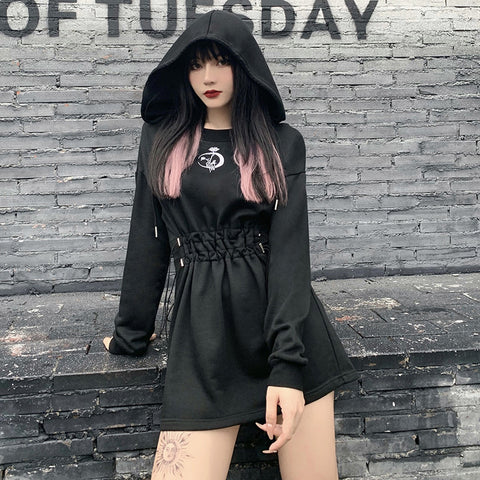 Dark punk gothic pleated hoodie sweater embroidered crescent minidress big hoodie tunica