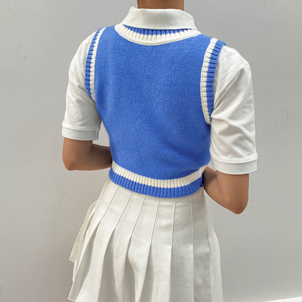 slim fit new college style wool vest knitwear color block knitwear crop top sleeveless cardigan