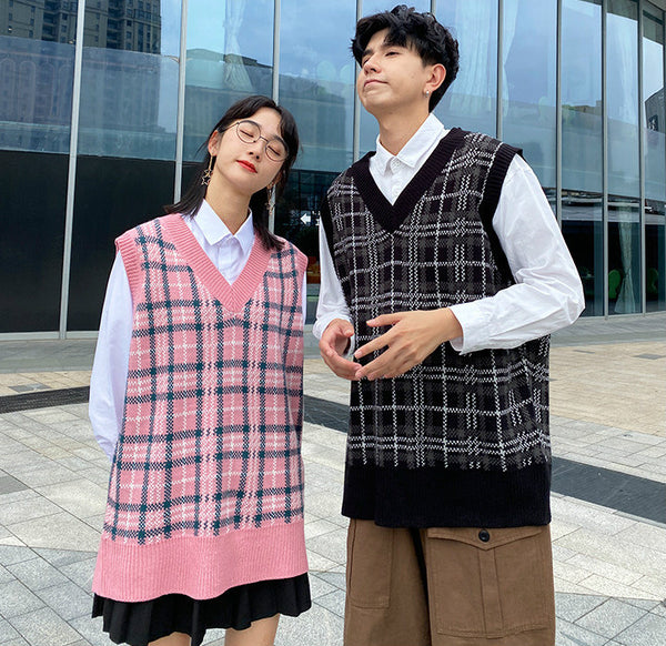 College style couple Acrylic yarn knitwear plaid vest loose fit oversize pullover Streetwear