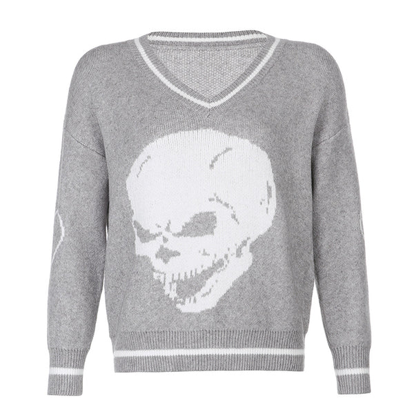 2021 European Gothic College Sweatshirt V-neck skull print loose fit Sweater Cardigan top