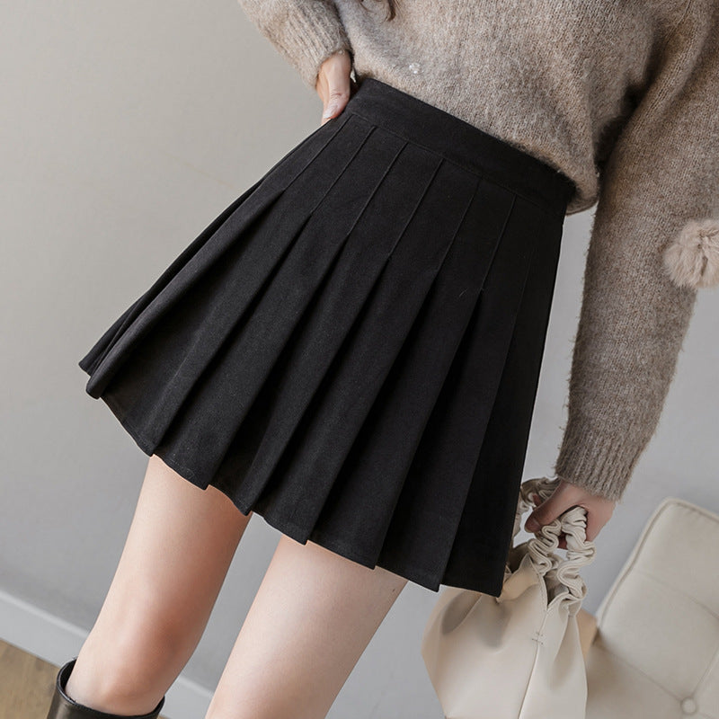 Slim Looking A-line skirt high waist winter woolen pleated skirt plain color skater dress for woman