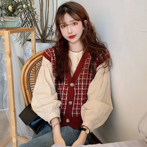 2021 spring autumn new retro vintage sweater vest top blouse loose outfit cardigan combination