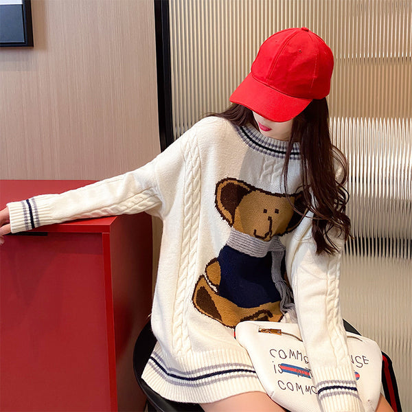 Loose Fit Long Sweater Knitwear with Bear in Scarf Kawaii Leisure fall winter for Femme 2021