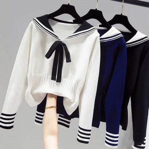 2021 Korean Fashion College Girl Sailor Style knitwear loose fit outfit sweater with bows pullover