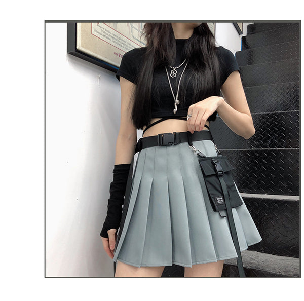Hanging bag and belt Girl Worker Cosplay high waist pleated skirt cool dark with pocket