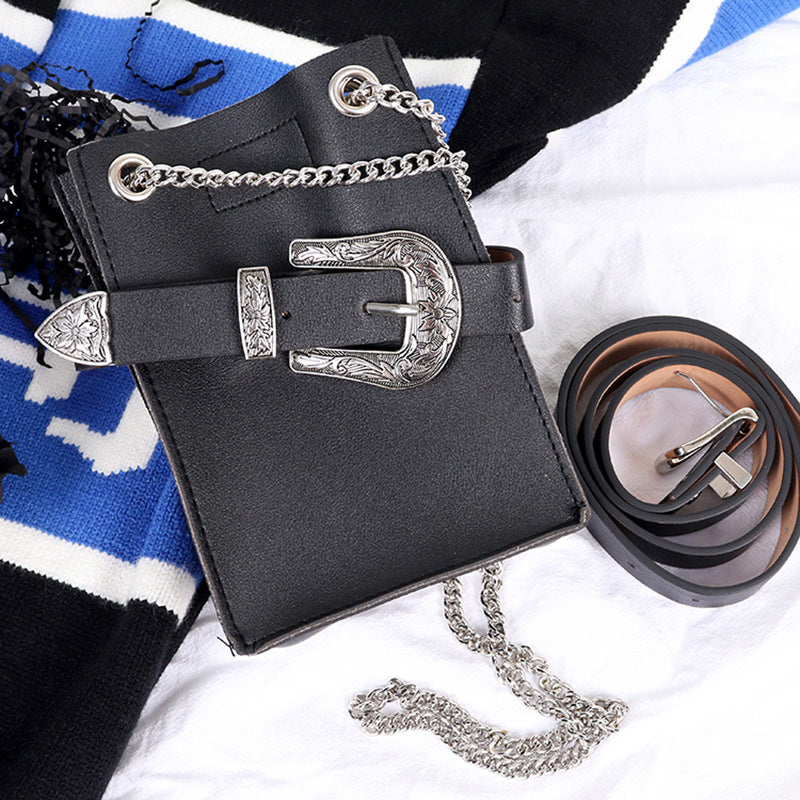 2021 All Seasons Bloggers Instashop detached Belt Mobile Phone Leather HandBag and Purse with Antique Deco