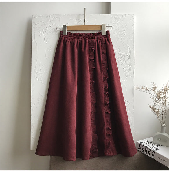 2021 winter long corduroy skirt agaric placket fluffy umbrella skater dress ruffles trim agaric edge