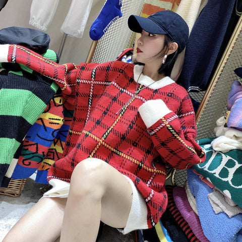 2021 Christmas Seasonal Loose Fit Knitwear Plaid Urban Leisure Sweater Checkered Pullover