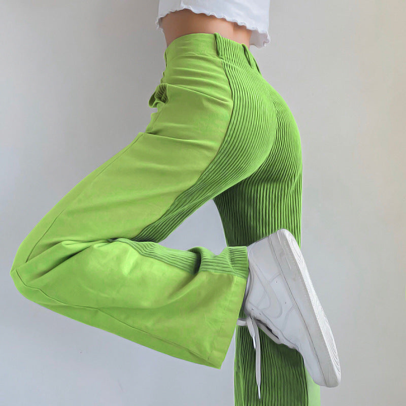 splicing straight pants loose fit bright color corduroy casual pants trousers hipsters plus size