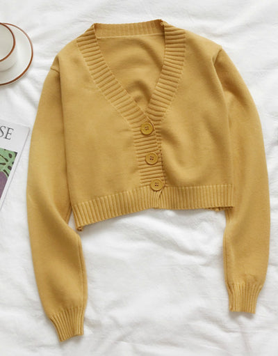 2021 Sweet 10 Farben hoch taillierter Pullover Crop Top einfarbig Slim Fit Strickjacke