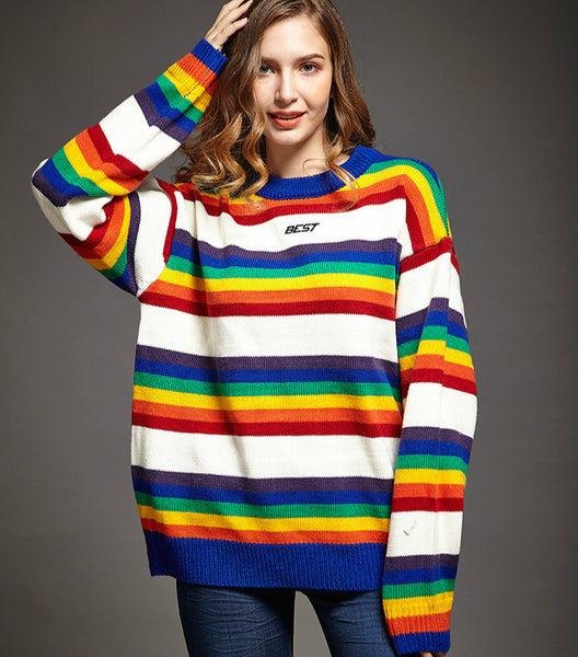 3D Cut Rainbow Stripes Pullover Kpop loose fit Knitwear Urban Leisure Striped Sweater one size