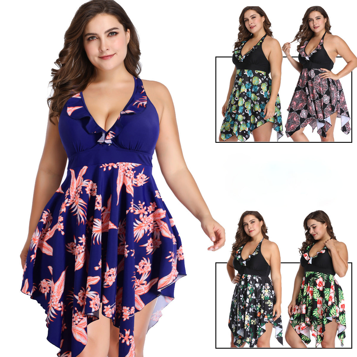 2020 Irregular Swimdress Women Tankini Sexy Swimsuit Plus Size Tight Tummy Dress Swimwear