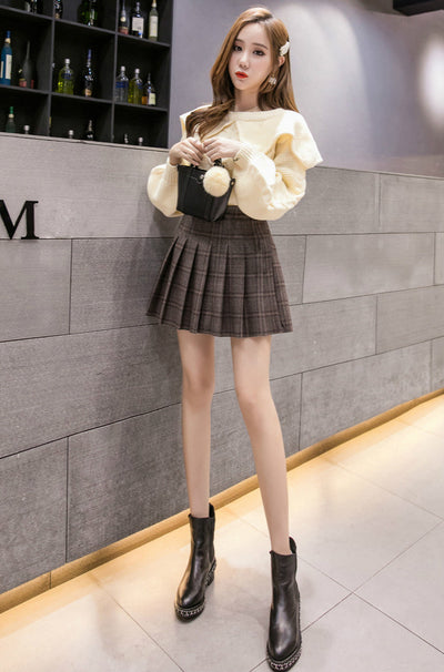 2021 for Women Slim Looking A-line pleatd skirt high waist winter woolen plaid skater dress