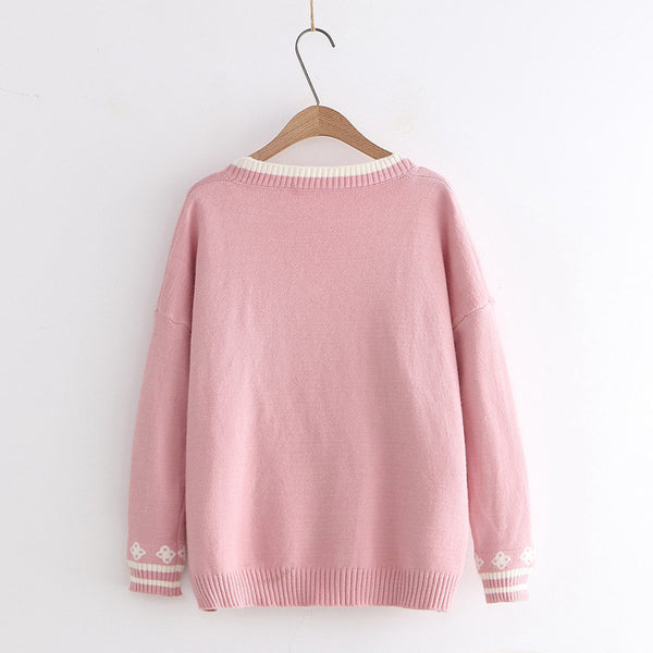 Kawaii Rabbit loose fit embroidery knitting wear cardigan V-neck sweater button up knitwear outfit