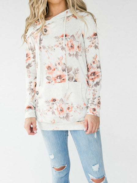 2020 Autumn WInter Hooded Floral Print Slim Fit Sweater Hoodie Pullover Top Coat with pocket