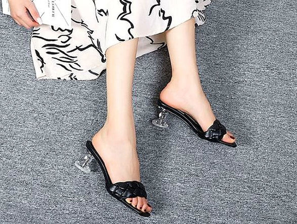 Square head open-toed faux leather braided sandals couture coarse crystal heel fashion women shoes comfortable